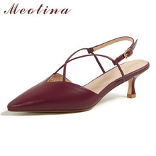 Meotina Women Pumps Genuine Leather Mid Heel Slingbacks Shoes Pointed Toe Thin Heels Shallow Ladies Footwear Summer Wine Red 40 dijigirls recommend sheep skin summer women pumps patterns leather mixed color metal high heels pointed toe shallow shoes