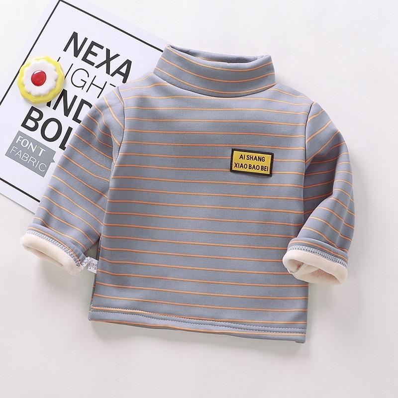 Autumn Winter Warm Solid Polyester Clothes Baby Boys Girls T Shirt Toddler Kids Long Sleeve T-shirt Children Underwear Clothing 4
