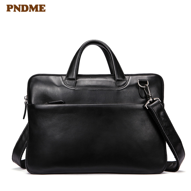 PNDME Black Genuine Leather Men's Women's Business Briefcase Casual Simple Soft Cowhide Laptop Shoulder Bag Small Work Handbags