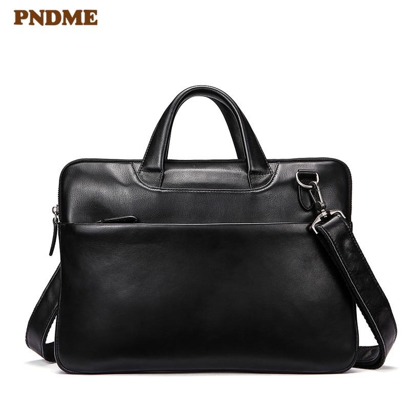 PNDME Black Genuine Leather Men's Women's Business Briefcase Casual Simple Soft Cowhide Laptop Shoulder Bag Small Work Handbags