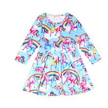 Baby Girl Clothes Brand Girls Unicorn Dress Kids Princess Summer Pajamas Milk Silk Fabric 8162