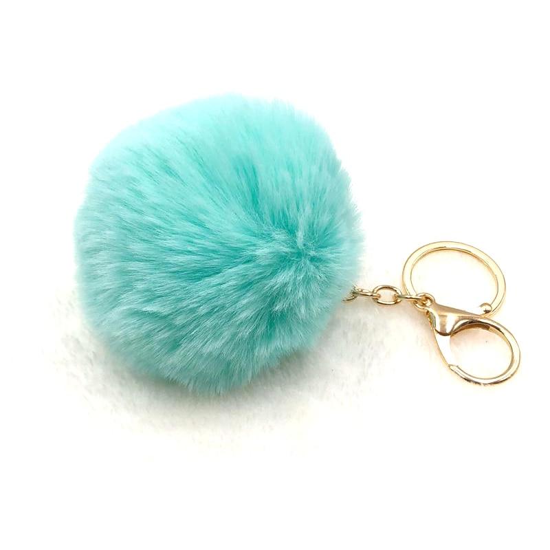 CUNA Simple Key Chain Fur Ball Pompon Keychain Pompom Artificial Rabbit Fur Animal Keychains For Woman Car Bag Keyring 18 Colors