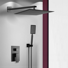 Faucet Shower-Set Bathroom Black BAKALA Square Stainless-Steel Rain Handheld
