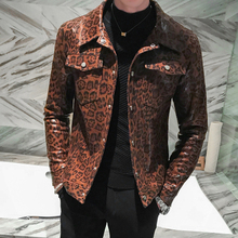Mens Leather Jacket Stage Costumes Coat Leopard Print biker jacket