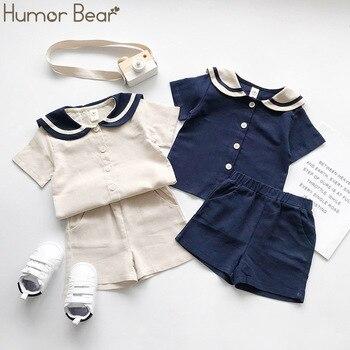 Humor niedźwiedź japoński i koreański w stylu marinistycznym dzieci marynarski kołnierzyk bawełniana lniana koszulka + spodnie 2 szt. Zestawy ubrań na lato chłopcy dziewczęta garnitur