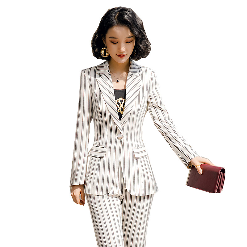 2020 New Female Formal Elegant Women Office Lady Pant Suits Of Business OL Blazer Suit Jackets Length Trouser Two Pieces Set