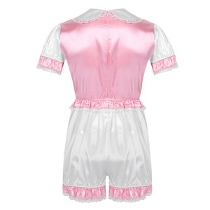 Image 2 - Men Silky Satin Trimmed Lace Romper Sissy Lingerie Doll Collar Short Puff Sleeves Mens Adult Baby Crossdresser Cosplay Costume