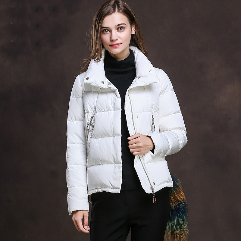 Loose fit turn   down   collar white duck   down     coats   outerwear women short design 2019 style duck   down   jackets for autumn winter