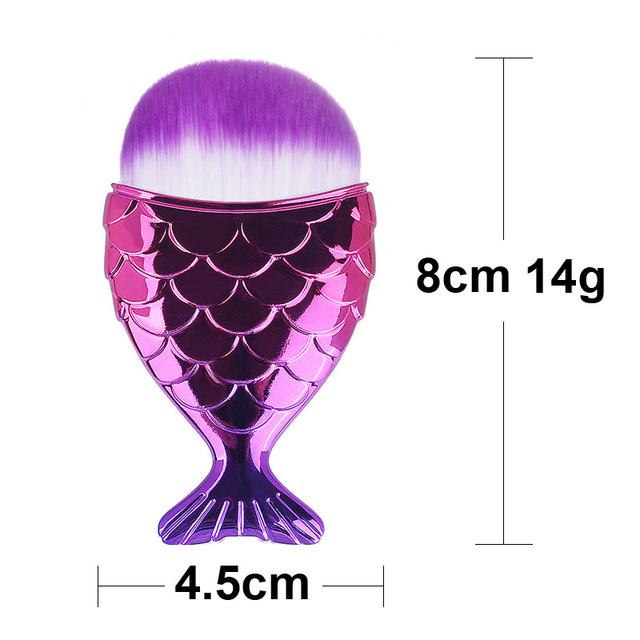 Make Up Brushes Cosmetic Professional Tail Mermaid Holder Shape Makeup Brush Foundation Cosmetic Fish Tools Kit Powder Face 1