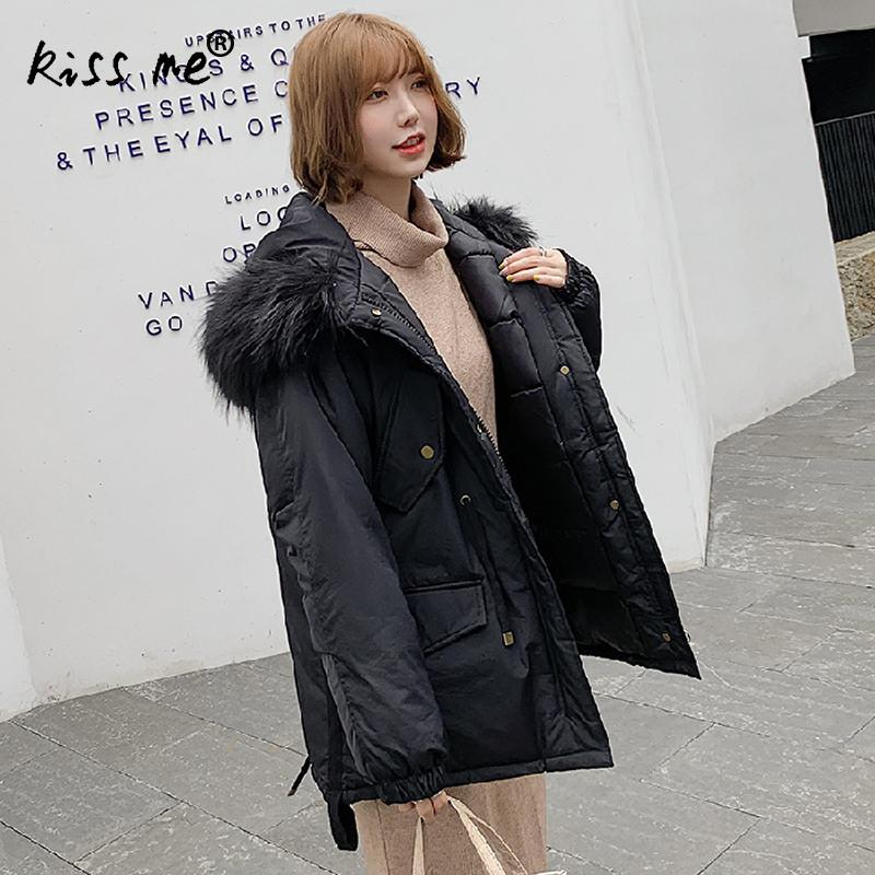 Fashion Hooded Women Parkas Winter Thermal Down Jacket Casual Waist Control Female Down Coat Warm Cotton Loose Casual Coat