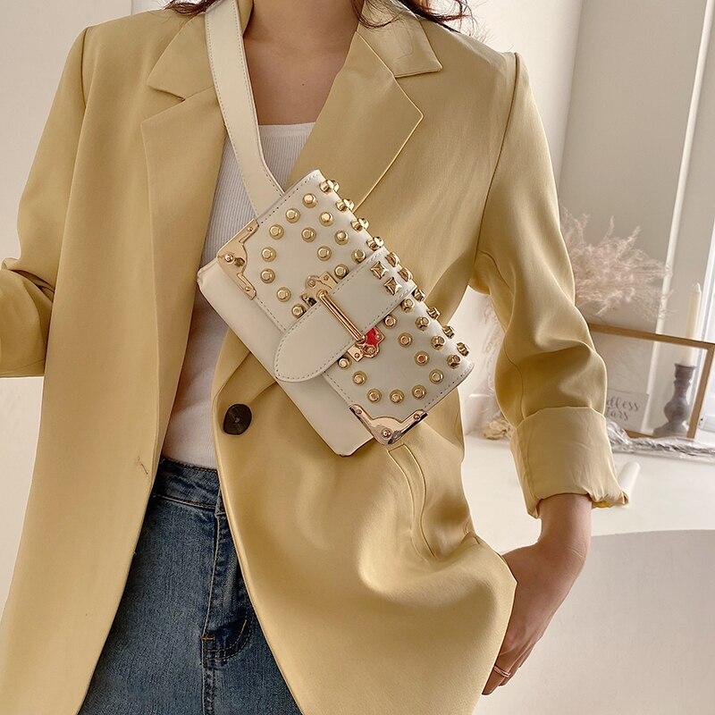 Fashion Fanny Pack Waist Bag Women Waist Packs PU Leather Chest Bag Belly Bag Shoulder Messenger Bag Female Rivet Messenger Bag