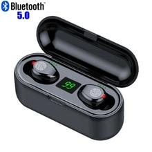 Светодиодный Bluetooth наушники F9 TWS, беспроводные наушники с микрофоном, Bluetooth наушники, стереозвук, музыка, мини наушники Bluetooth