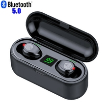 F9 TWS 블루투스 이어폰 LED 무선 헤드폰 마이크 블루투스 이어폰 스테레오 사운드 음악 미니 이어 버드 블루투스 헤드폰