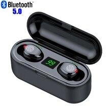 F9 tws bluetooth イヤホン led ワイヤレスヘッドフォンとマイク bluetooth ステレオサウンド音楽ミニ bluetooth ヘッドフォン