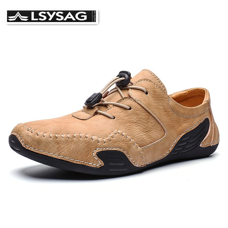 Men Casual Shoes Luxury Brand 2020 Men Loafers Moccasins Breathable Lace Up Driving Shoes Microfiber Leather Flat Fashion Homme