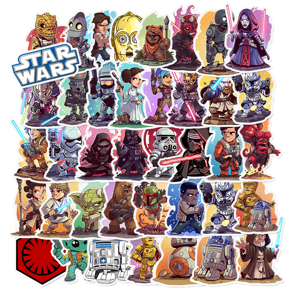 50pcs/Pack Waterproof Cartoon Star Wars Children Stickers Skateboard Suitcase Guitar Girl Funny Graffiti Sticker Kid Classic Toy