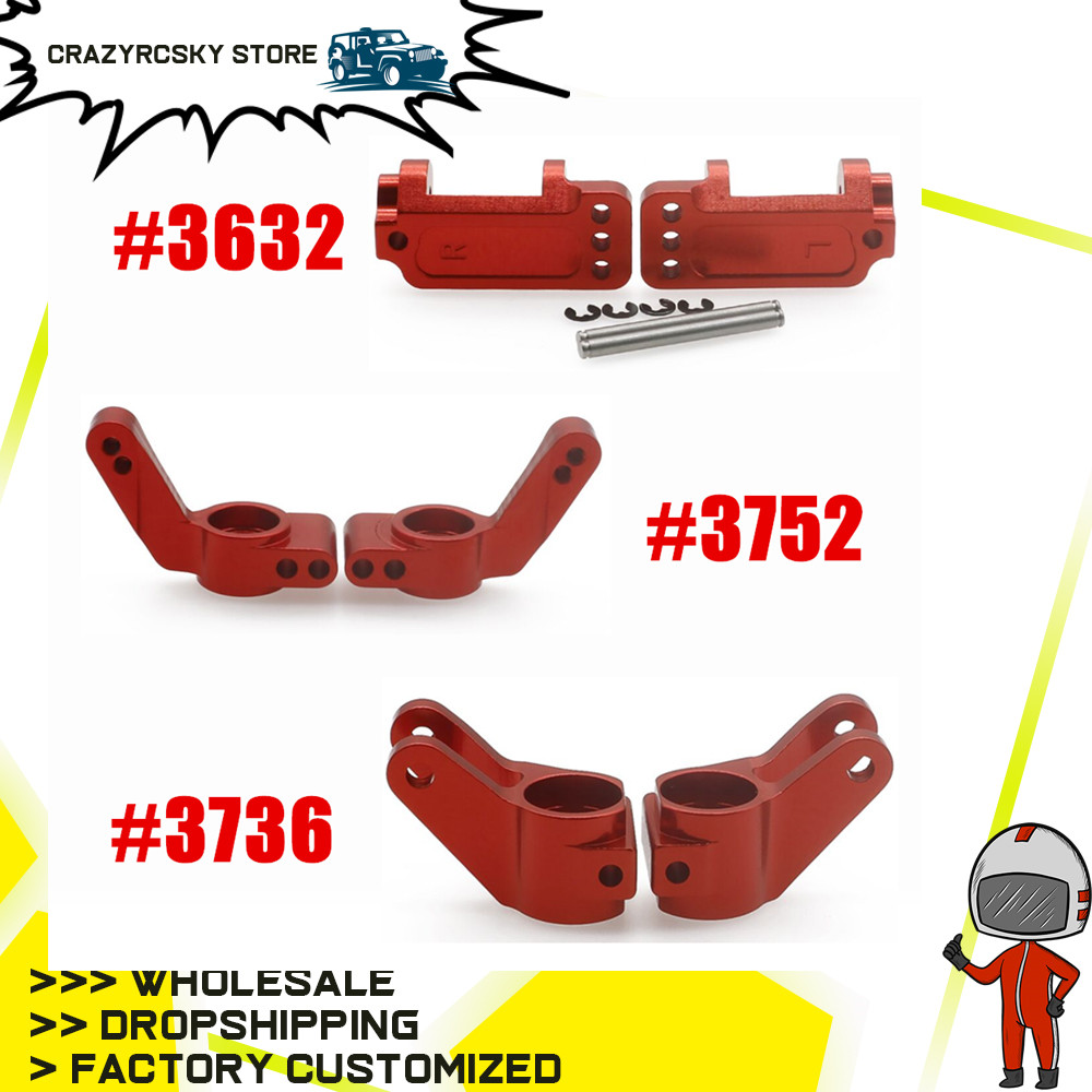Aluminum Left & Right Steering Blocks Caster Front Hub Caster Stub Axle Carriers for 1/10 Traxxas Slash 2WD Upgrade Parts