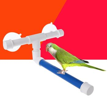 Pet Birds Shower Perches Toys Wall Suction Cup Bird Bath Standing Platform Rack Parrot Budge Paw Grinding Stand Toy 24*21*10cm image