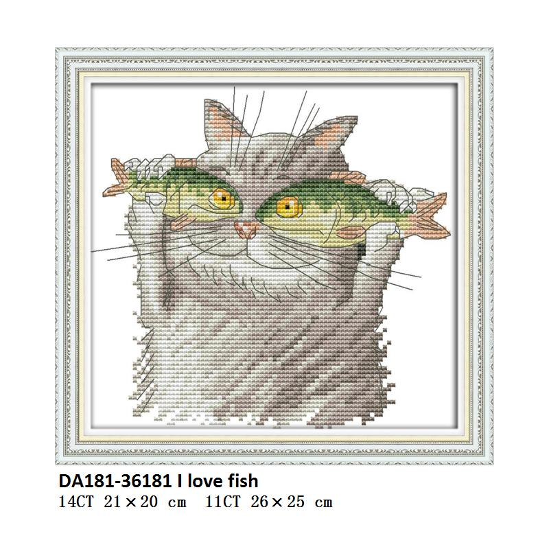 Joy Sunday Counted Cross Stitch Cotton DMC Cat Patterns Cross Stitching Printed Canvas Embroidery Kit DIY Needlework Aida Fabric