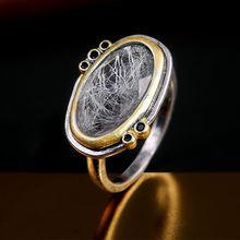 Huitan-Anillo de dedo Vintage para mujer, diseño de piedra grande hecho a mano, joyería Retro Anti-tono