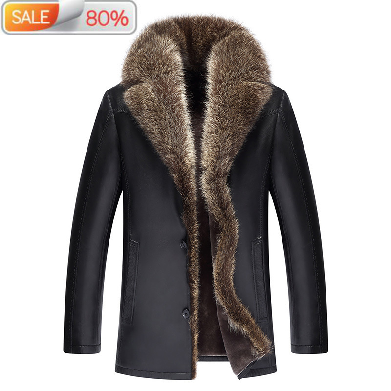 Genuine Leather Jacket Real Wool Liner Men Sheepskin Coat Racoon Fur Collar Chaqueta Cuero Hombre DXL1609 B21164