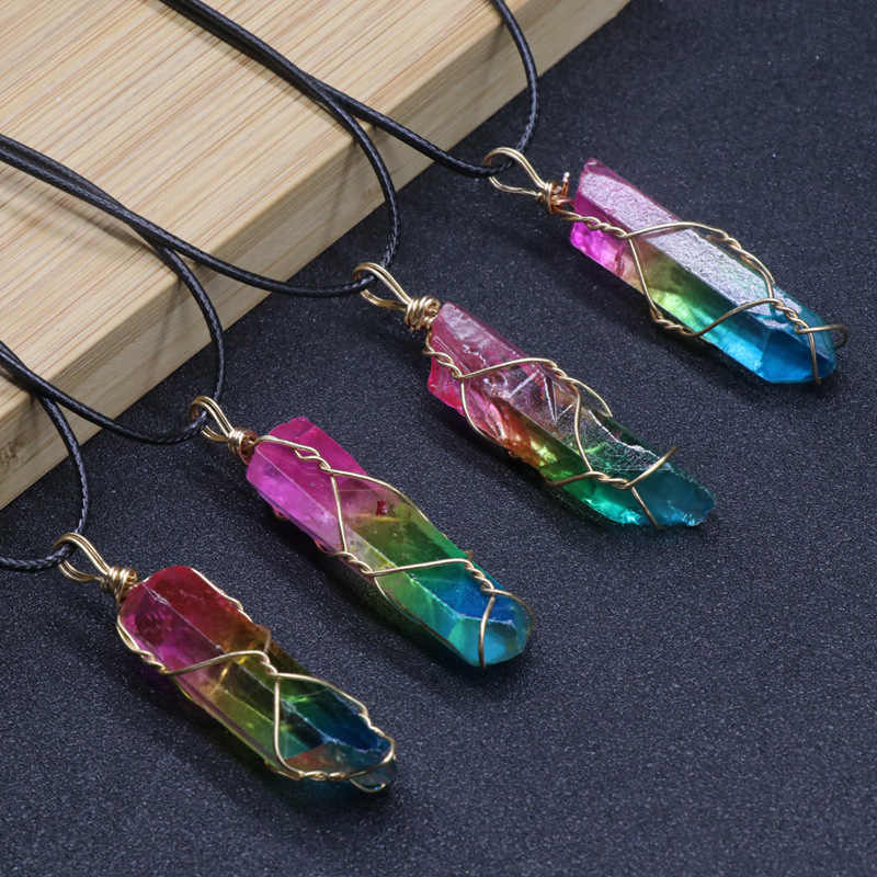 Ожерелье и подвеска из натурального кварца с кристаллами для женщин, Исцеляющие подвески с камнями, Трендовое ожерелье s для мужчин, необычное Радужное ювелирное изделие, подарки