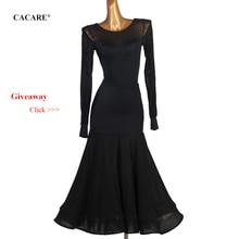 CACARE Ballroom Dance Competition Dresses Waltz Dress Standard Top Skirt Set D0438 Big Ruffled Hem Mesh Sleeve