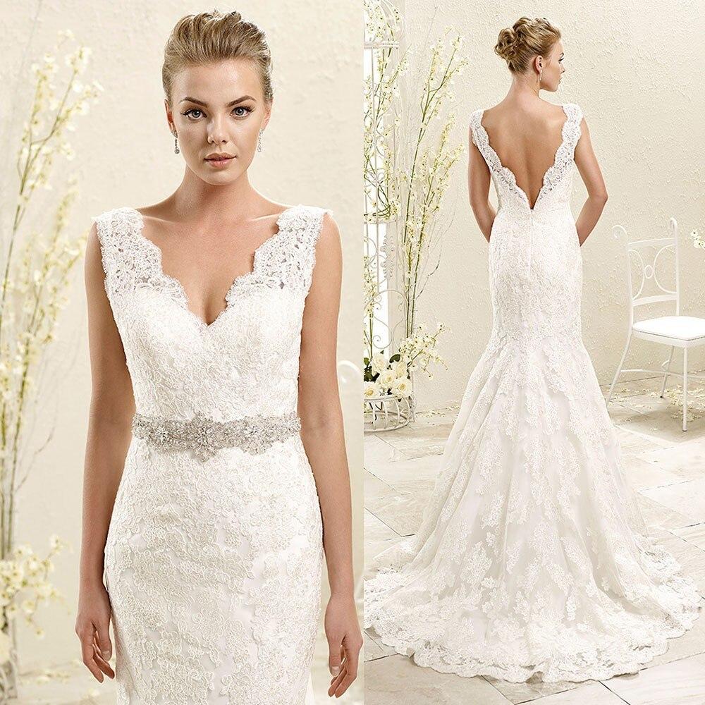 Robe De Mariee 2019 Elegant Mermaid Wedding Dresses Lace Bridal Gowns V Neck Back Crystal Belt Vestido De Noiva Wedding Dress