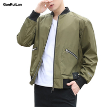 2019 New Mens Jackets Spring Autumn Casual Coats Solid Color Sportswear Stand Collar Slim Male Bomber 5XL