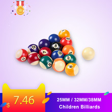 25MM / 32MM/38MM Children Billiards Table Balls Set Resin Small Pool Cue Balls Full Set 16 PCS Mini Billiard balls Set(China)