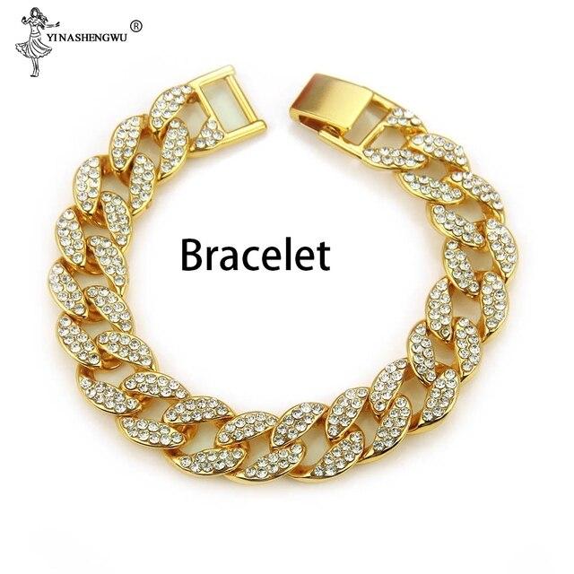 3 uds. Collar + reloj + pulsera Hip Hop Miami cadena cubana helado oro plata diamantes de imitación CZ Bling rapero hombres Joyas 3