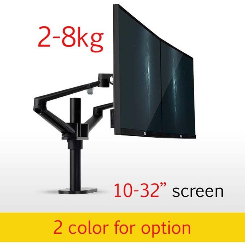 Настольная подставка с двумя ручками из алюминия, 10-32 дюйма, для настольного монитора, настольное крепление на экран, крепление для компьюте...