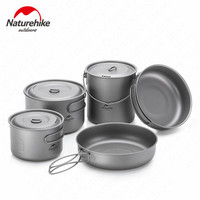 Outdoor Hiking Camping Picnic Tableware Titanium Pot Frying Pan Lightweight Camping Equipment 800ml 1250ml 1300ml