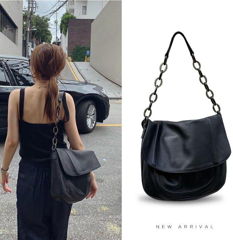 Women Handbag 2019 Chain Big PU Leather Bag Soft Black Hobo Bag White Female Shoulder Bags Large Capacity Shopper Tote Purse