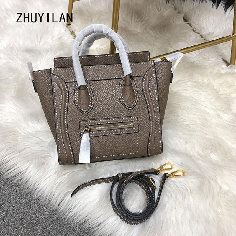 High Quality Leather Women Bag Fashion Head Layer Cowhide Smiley Bag Shoulder Bags Crossbody Bag Handbag