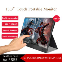 """Portable Monitor 13.3""""Touch Screen USB Type C HDMI Gaming Monitor 1080P HD Display for PS4 Laptop Phone Xbox Switch PC with Case"""