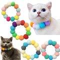 Pet Rainbow Color Fur Ball Collar Cat And Dog Collar Christmas Necklace Pet Photo Decoration Props Teddy Collar Pet Accessories