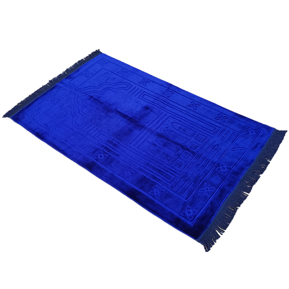 Plain Muslim Prayer Rug - Plush Raschel Fabric - Features Rectangle Design & Fringes On Both Sides - Islamic Prayer Mat 65×110CM
