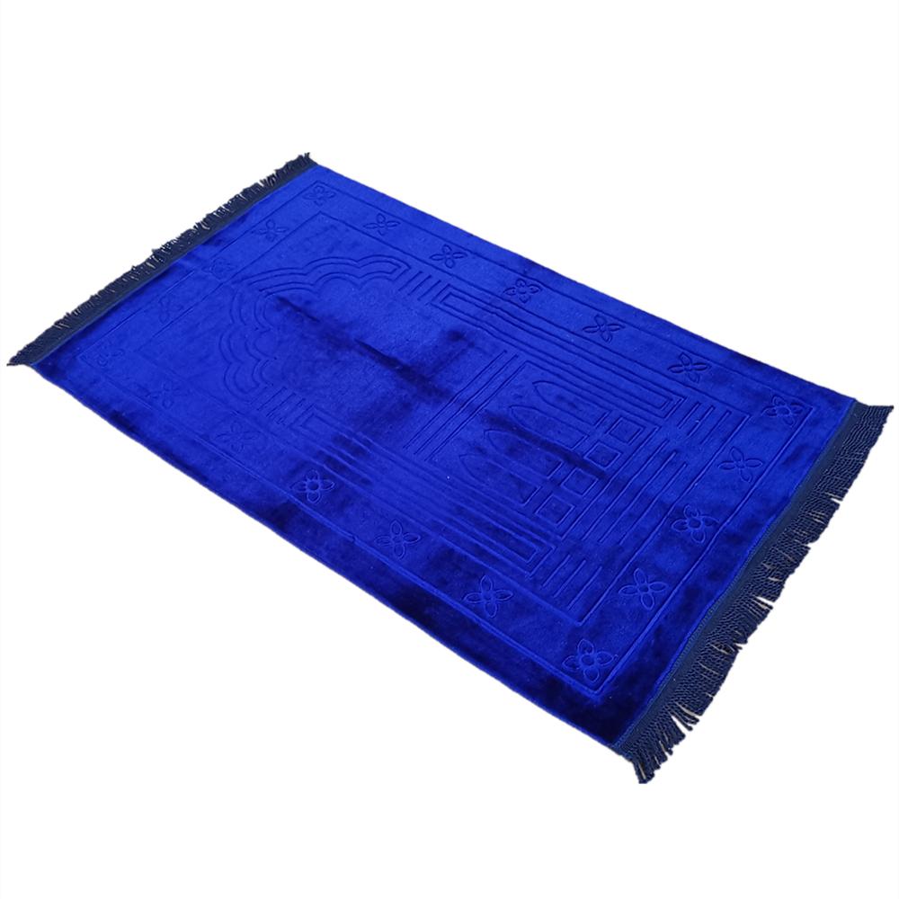 Plain Muslim Prayer Rug - Plush Raschel Fabric - Features Rectangle Design & Fringes On Both Sides - Islamic Prayer Mat 65×110CM