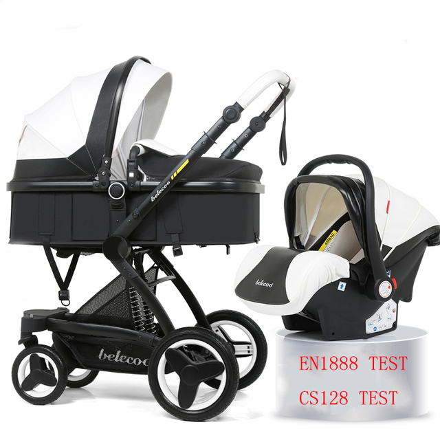 $ US $346.24 Belecoo Baby Stroller 3 in 1  Baby Trolley Baby Pram Can Sit Can Lie Baby Pushchair