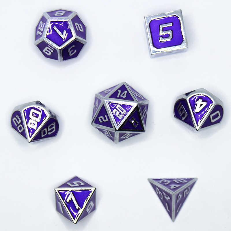RPG ลูกเต๋า polyhedral ชุดโลหะ DND Dungeons และมังกรตารางเกมสังกะสีโลหะผสมสีม่วง dices รูปแบบดิจิตอล D20 10 8 12