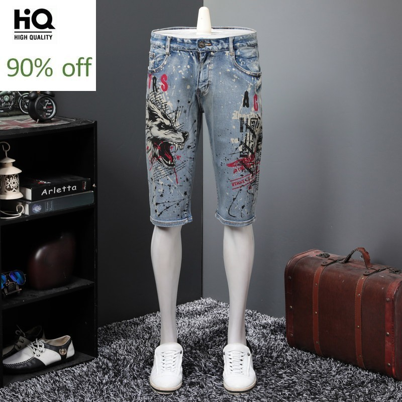 Summer Animal Print Denim Shorts Men Top Quality Casual Stretch Loose Straight Knee Length Jeans Fashion 2020 Vintage Hot Pants
