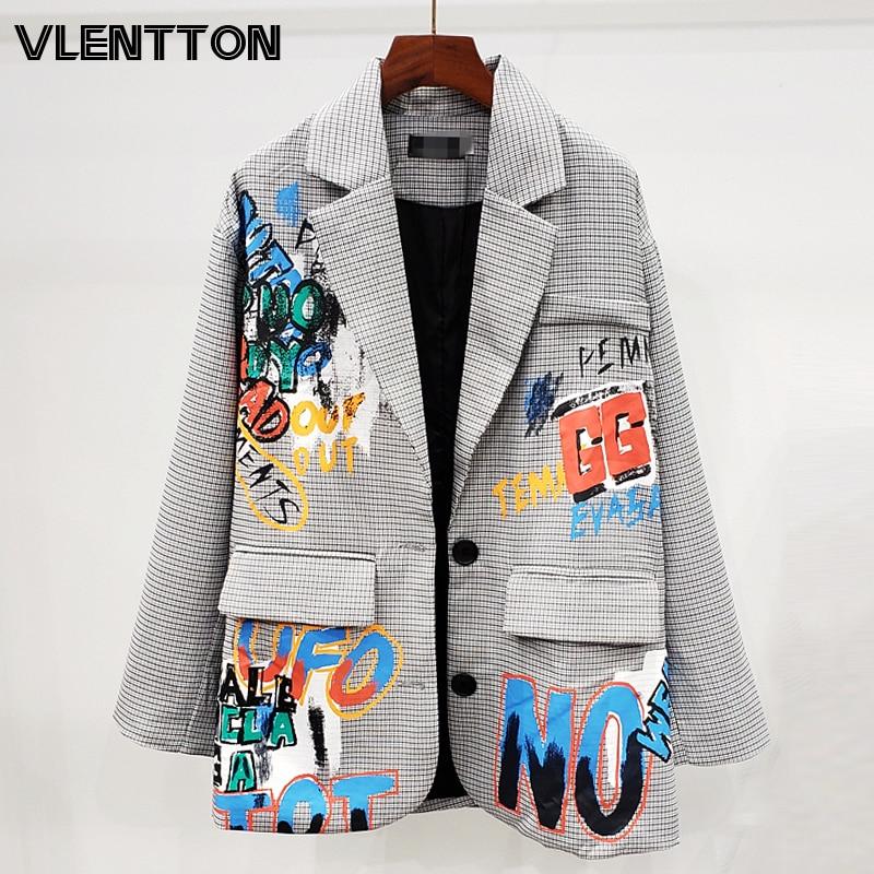 2020 Spring Vintage Plaid Graffiti Blazer Jacket Women Chic Pockets Korean Loose Suit Coat Female Outwear Tops Blazers Feminino