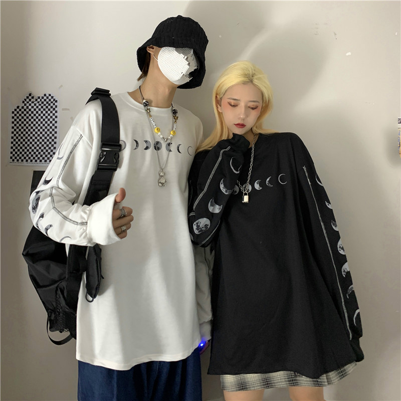 Новая Осенняя Футболка Harajuku с принтом Луны уличная женская готическая Свободная Повседневная модная черная белая футболка унисекс