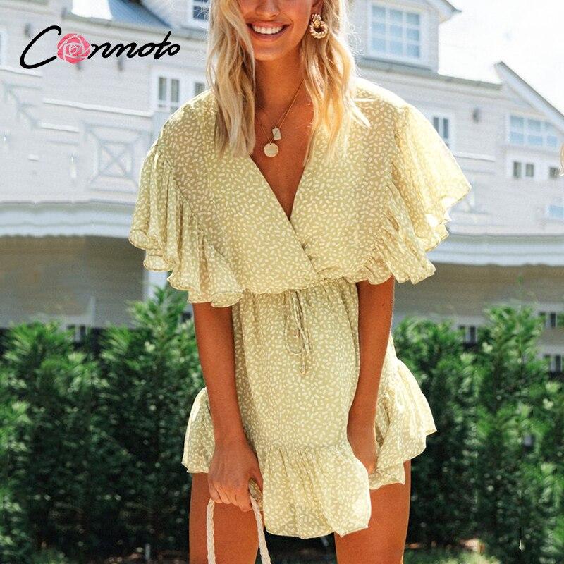 Conmoto Dot Chiffon Ruffles Women Dress Yellow Beach Summer Casual Dresses Ruffles Female High Fashion Sexy Short Dress Vestidos