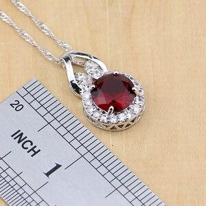 Image 3 - Doğal 925 gümüş takı kırmızı zirkon beyaz CZ tılsım küpe kolye kolye yüzük bilezik takı setleri kadınlar için