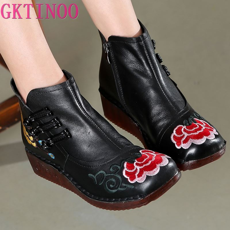 GKTINOO Women Genuine Leather Boots 2019 Fashion Handmade Retro Boots Wedges Heels Ankle Boots Female Cowhide Embroidered Shoes