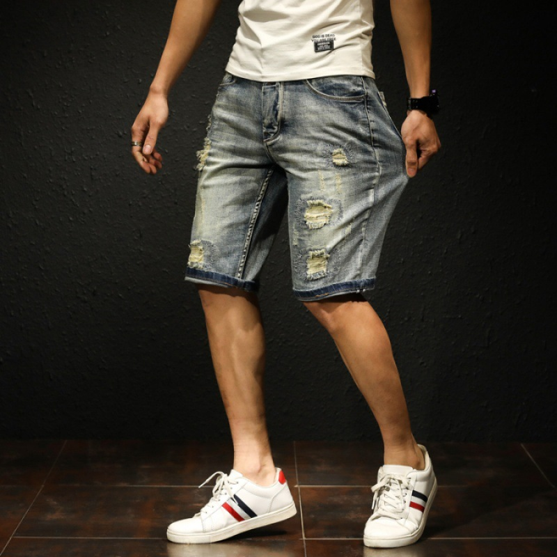 With Holes Embroidered Patch Denim Shorts Men's Popular Brand Hip Hop Slim Fit Straight-Cut Shorts [QQ Group: 58411717