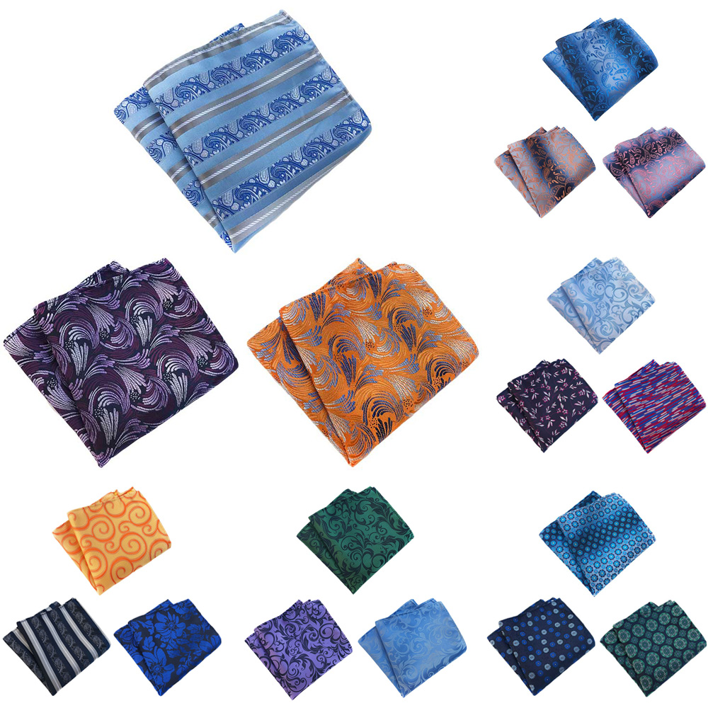 3 Packs Mens Classic Stripe Floral Pocket Square Handkerchief Wedding Hanky HZTIE0363