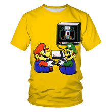 Anime Super Mario 3D Printing Summer Fashion Men's And Women's Short-Sleeved T-shirt Soft Material Outdoor Casual Men's T-shirt
